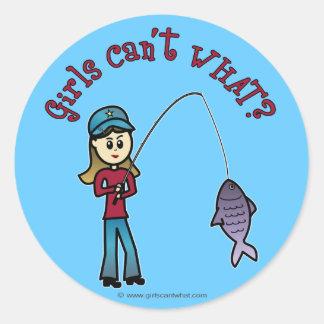Chica ligero de la pesca pegatinas redondas