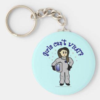 Chica ligero del astronauta llavero redondo tipo pin
