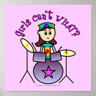 Chica ligero del batería póster