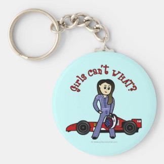 Chica ligero del conductor de coche de carreras llavero redondo tipo pin