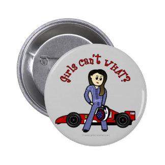 Chica ligero del conductor de coche de carreras pins