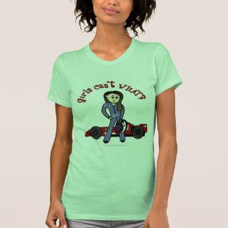 Chica ligero del conductor de coche de carreras camisetas
