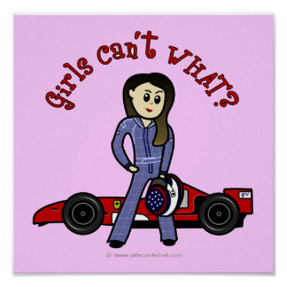 Chica ligero del conductor de coche de carreras póster