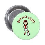Chica ligero del fútbol en rojo pin