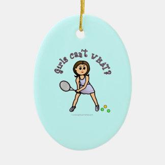 Chica ligero del jugador de tenis adorno ovalado de cerámica