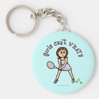 Chica ligero del jugador de tenis llavero personalizado