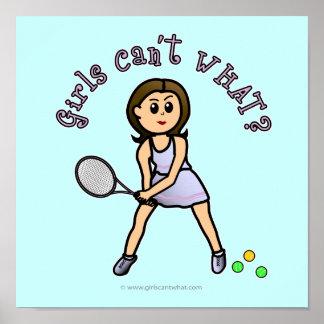 Chica ligero del jugador de tenis impresiones