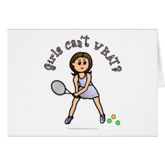 Chica ligero del jugador de tenis tarjeta de felicitación