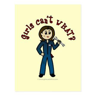 Chica ligero del mecánico postales