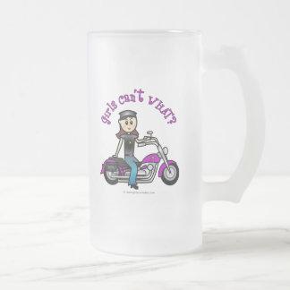 Chica ligero del motorista taza cristal mate