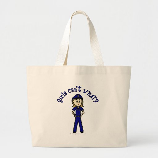 Chica ligero del oficial de policía bolsa lienzo