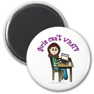 Chica ligero del ordenador imán redondo 5 cm