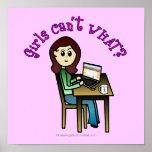 Chica ligero del ordenador impresiones