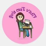 Chica ligero del ordenador pegatina redonda