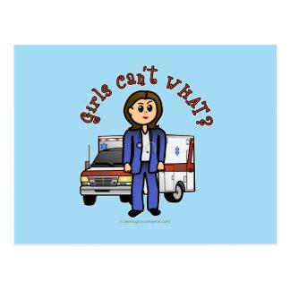 Chica ligero del paramédico de EMT Tarjetas Postales