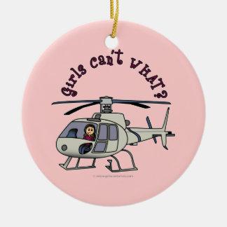 Chica ligero del piloto del helicóptero ornamente de reyes