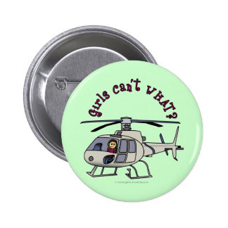 Chica ligero del piloto del helicóptero pin redondo de 2 pulgadas