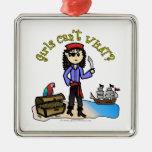 Chica ligero del pirata adornos de navidad