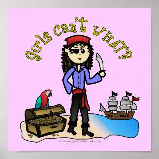 Chica ligero del pirata póster