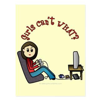 Chica ligero del videojugador postales