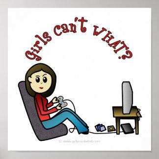 Chica ligero del videojugador póster