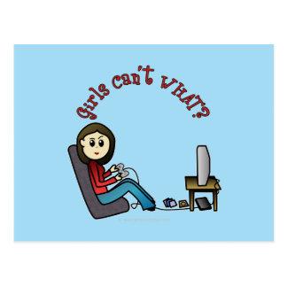 Chica ligero del videojugador tarjetas postales