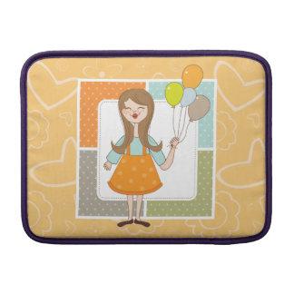 Chica lindo adorable y sus globos funda  MacBook