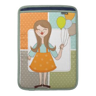Chica lindo adorable y sus globos fundas para macbook air