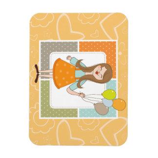 Chica lindo adorable y sus globos imanes rectangulares
