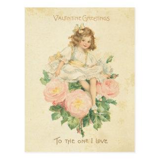Chica lindo color de rosa rosado bonito del el día tarjetas postales