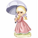 Chica lindo con el imán del paraguas escultura fotografica
