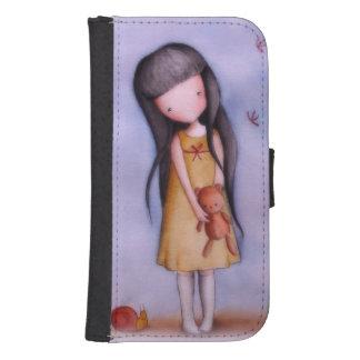Chica lindo con la caja de la cartera de Samsung Fundas Billetera Para Teléfono