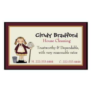 Chica lindo con la tarjeta de visita de la criada