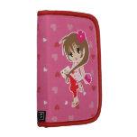 Chica lindo de Chibi con los corazones rosados y r Planificador