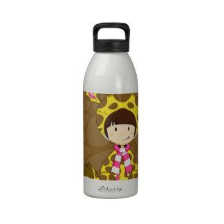 Chica lindo de la jirafa del dibujo animado botella de agua