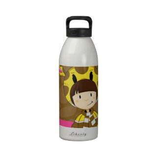 Chica lindo de la jirafa del dibujo animado botellas de agua reutilizables