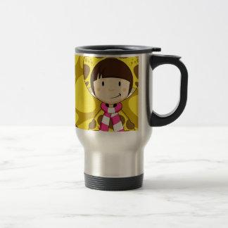 Chica lindo de la jirafa del dibujo animado tazas