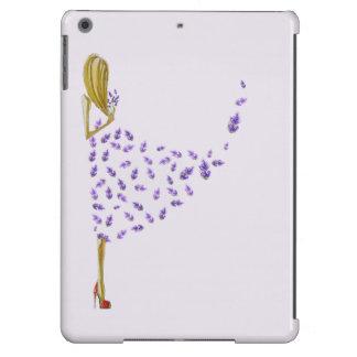 Chica lindo de la lavanda del dibujo animado funda para iPad air