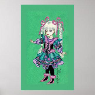 Chica lindo de la moda con las trenzas rubias posters