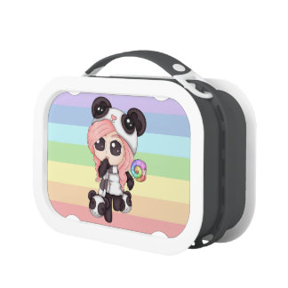 Chica lindo de la panda del animado del arco iris