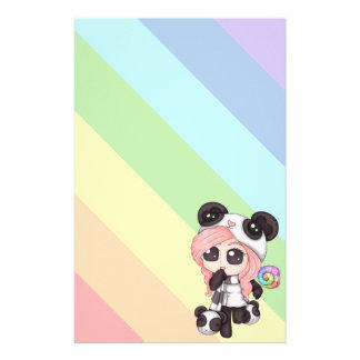 Chica lindo de la panda del animado del arco iris papelería