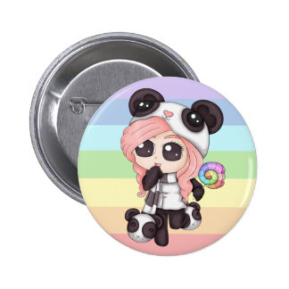 Chica lindo de la panda del animado del arco iris pin