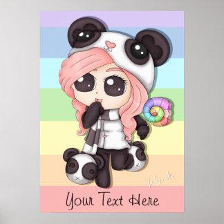 Chica lindo de la panda del animado del arco iris póster