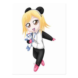 Chica lindo de la panda tarjetas postales