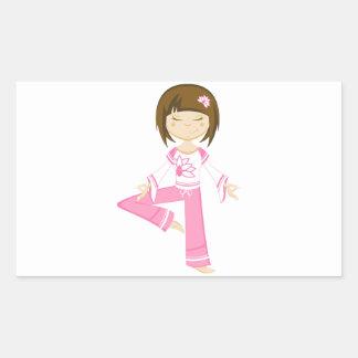 Chica lindo de la yoga del dibujo animado rectangular pegatina