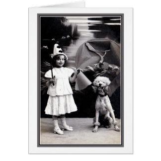 Chica lindo de Pierrot del vintage pequeño con la Tarjeta De Felicitación