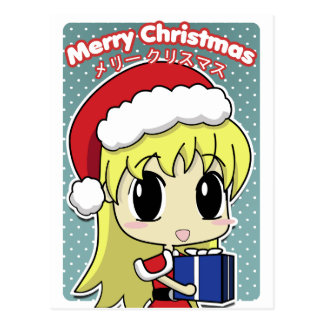 Chica lindo de Santa del navidad Tarjeta Postal