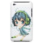 Chica lindo del animado con el auricular verde Case-Mate iPod touch carcasas