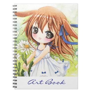 Chica lindo del animado con la margarita - cuadern libros de apuntes con espiral