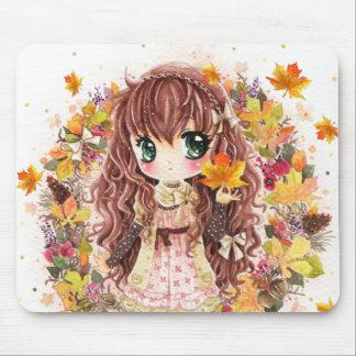Chica lindo del animado con las hojas de otoño alfombrillas de ratón